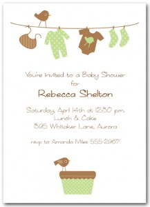 Green and Brown Baby Laundry Baby Shower Invitation