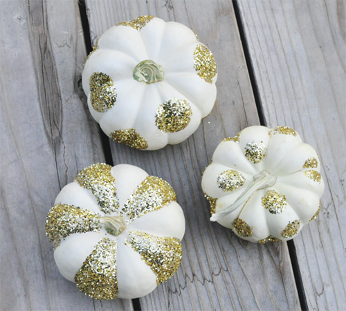 Halloween Painted Pumpkins:  Gold Glitter