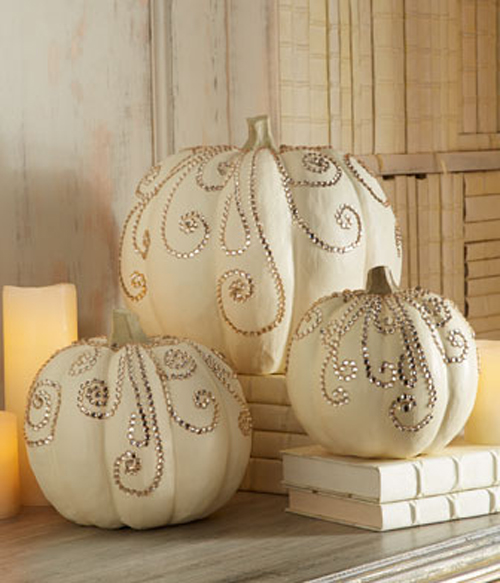 Halloween Painted Pumpkins: Ivory Jeweled Pumpkins