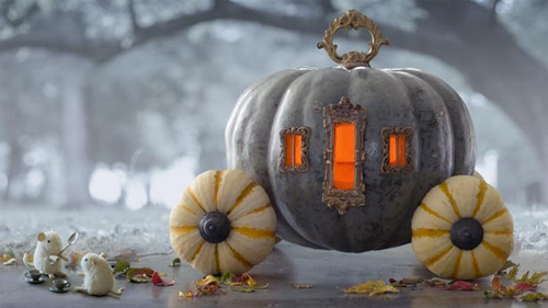 Painted Halloween Pumpkins:  Cinderella's Carriage