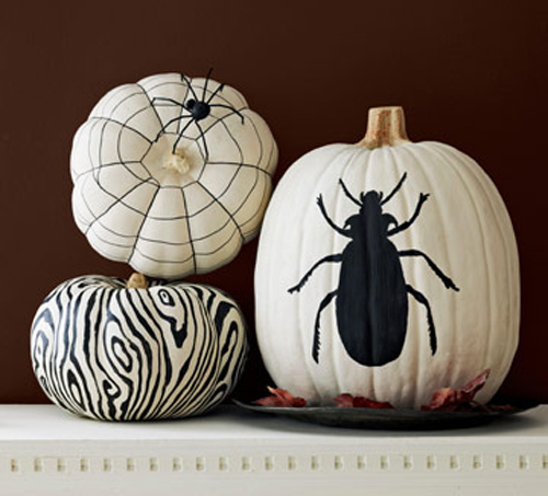Halloween Painted Pumpkins: Black on White Designs