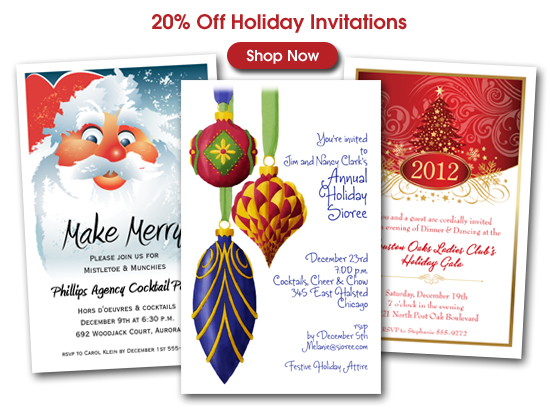 20% off Holiday Party Invitations