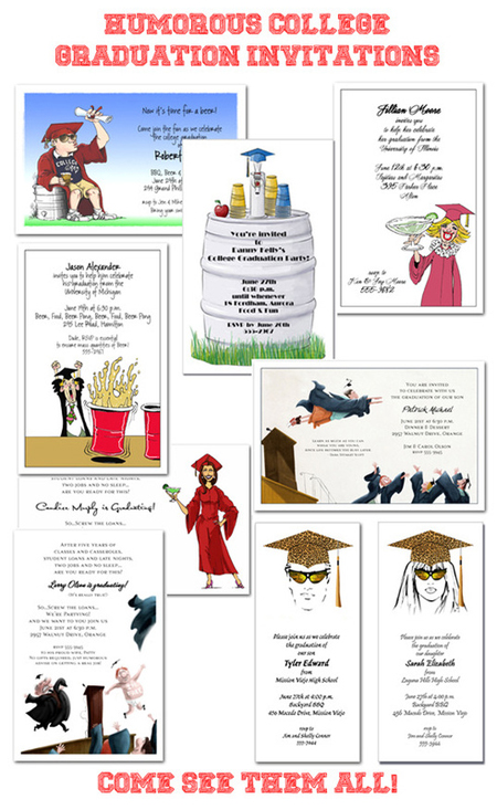 Humorous College Graduation Party Invitations