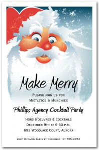 Jolly St. Nick's Face Holiday Invitations