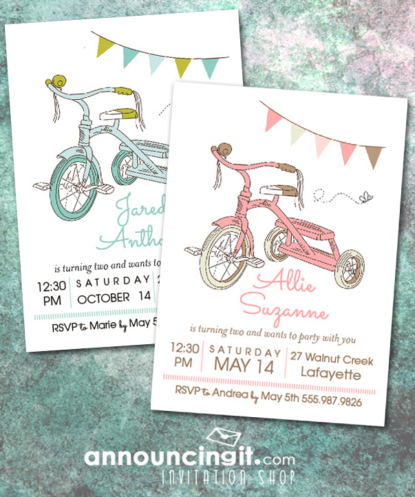 Kids Tricycle Birthday Party Invitations | Come see our entire invitation collection at Announcingit.com