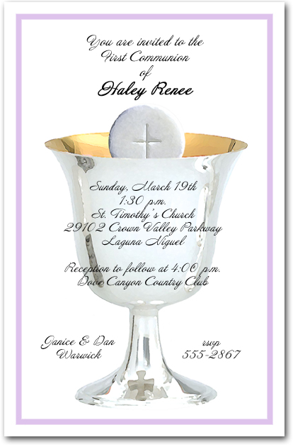 Lilac Border Chalice and Host First Communion Invitations