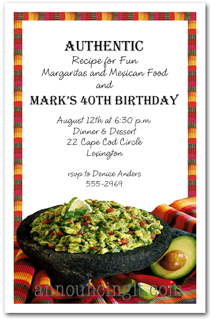 Cinco de Mayo Mexican Fiesta Guacamole Party Invitations