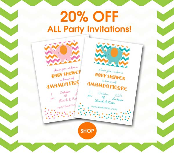 20% OFF Party Invitations