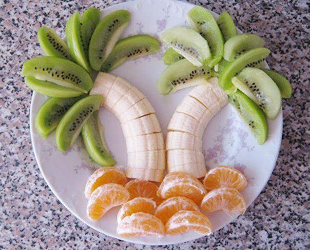 Fruit displayed as palm trees