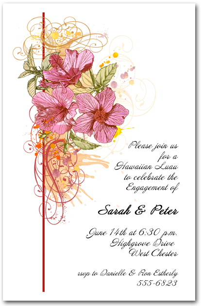 Pink Hibiscus Swirl Tropical Invitation