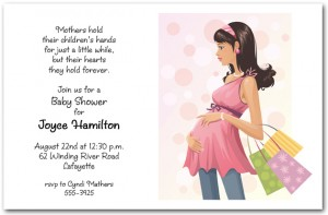 Pregnant Mom on Dots Baby Shower Invitation