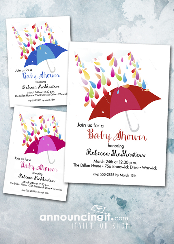 Raindrops on Umbrellas Shower Invitations