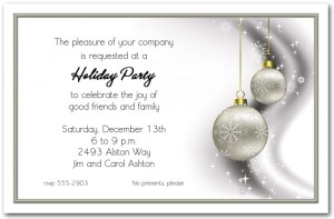 Rhinestone Silver Ornaments Holiday Invitations