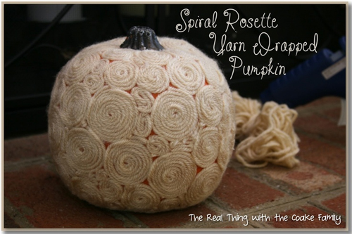 Spiral Rosette White Yarn Wrapped Pumpkin