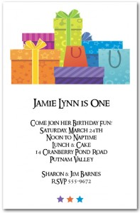 Stars and Gift Boxes Birthday Invitation