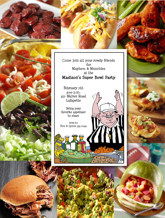 Super Bowl Party Invitations and Favorite Foods