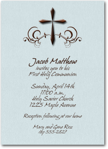 Holy Cross on Shimmery Blue Invitations