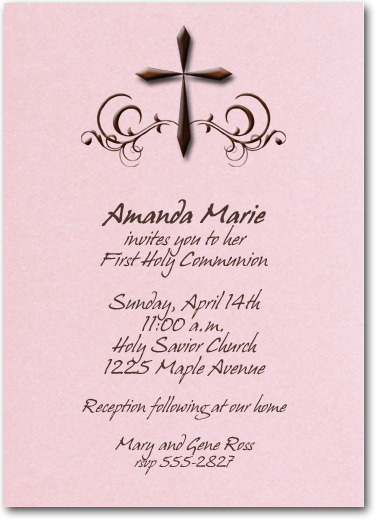 Holy Cross Shimmery Pink Invitations