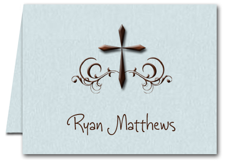 Swirled Brown Cross on Blue Religious Thank You Notes