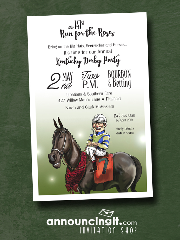 Winning Smiles Kentucky Derby Party Invitations available at Announcingit.com