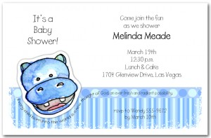 Zoo Babes Hippo Baby Shower Invitations