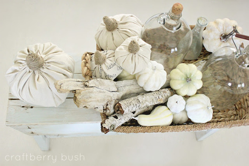 White Drop Cloth Pumpkins