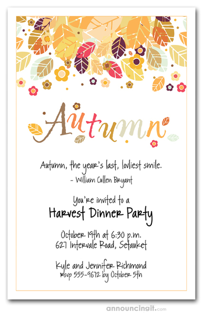 Fall Party Invitations Autumn Party Invitations – Fall Party Invitation Wording