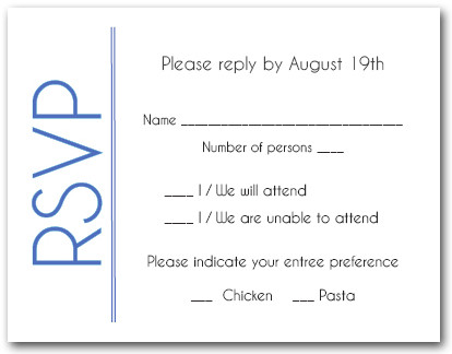 Blue Border RSVP Cards #6