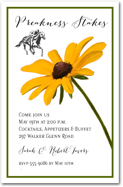 Black Eyed Susan Preakness Party Invitations