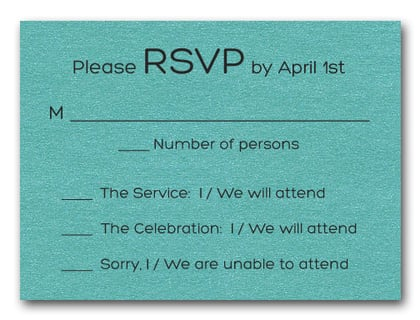 Shimmery Turquoise Bold Bar Mitzvah RSVP