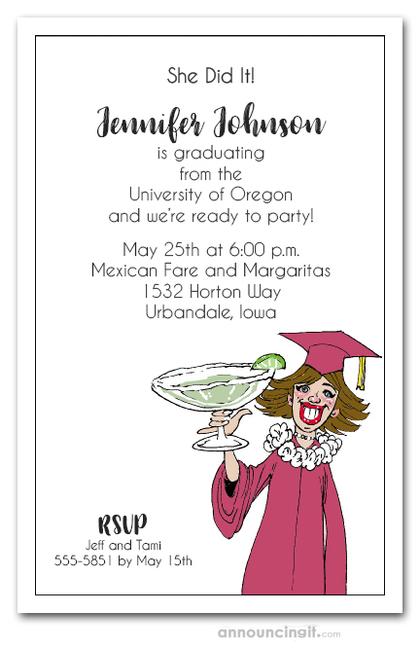 brunette girl & margarita college graduation party invitations, Party invitations