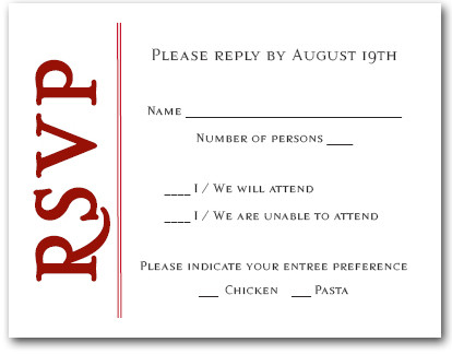Burgundy on White RSVP Cards #6
