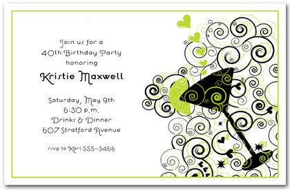 Cocktail on green and black swirl invitations cocktail for Cocktail party invite template
