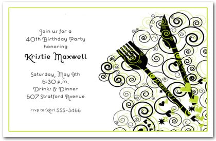 Dinner Party Green and Black Swirl Party Invitations