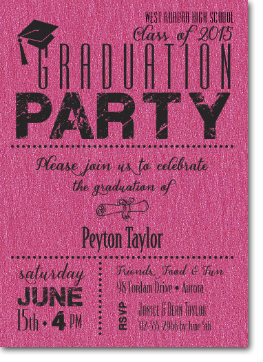 Shimmery Hot Pink Dotted Graduation