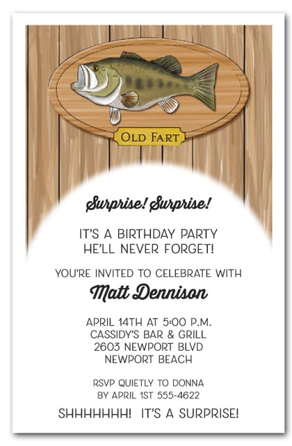 Fish on Plaque Invitations Fishing Retirement Party Fisherman