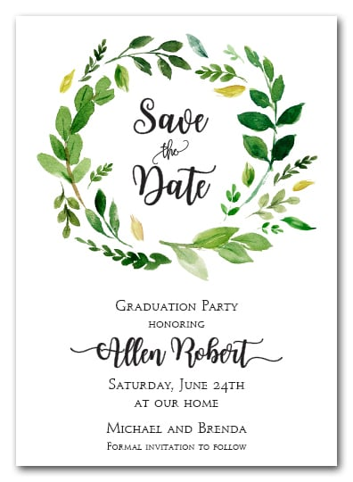 Grace Leaves Wreath Save The Date Cards Wedding Save The