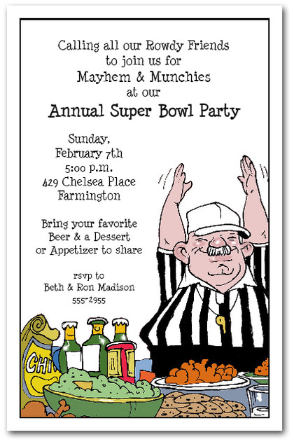 Food Referee Super Bowl Party Invitations – Super Bowl Party Invite