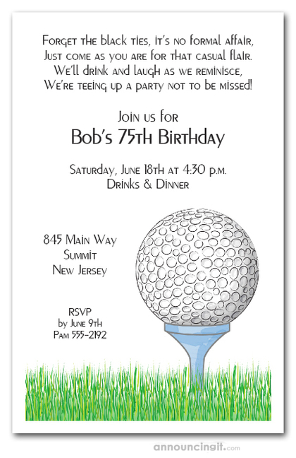 Golf Ball Tee Invitations Golf Outing Invitations Golfing – Golf Party Invites