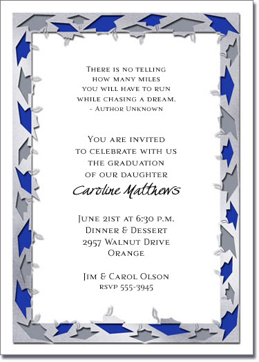 blue  u0026 white graduation caps party invitation  graduation