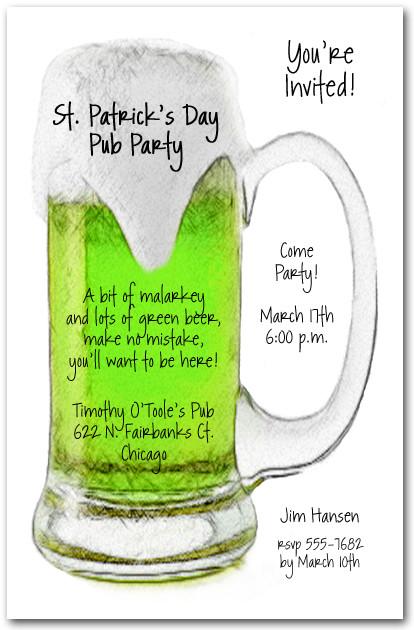 Green Beer Mug St Patrick S Day Invitations