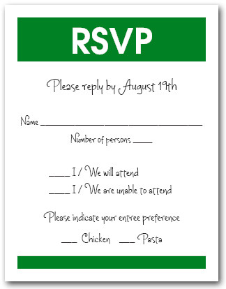 White & Green RSVP Card #3