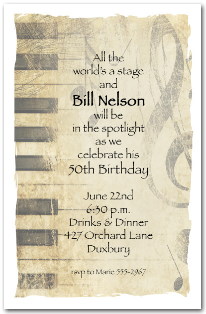 Grunge Piano Music Invitations Music Party Invitations
