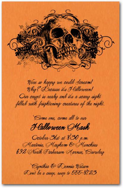 Grunge Skull On Orange Halloween Party Invitations