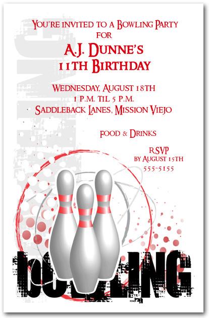 Grunge Sports Bowling Invitation Bowling Birthday Invitation