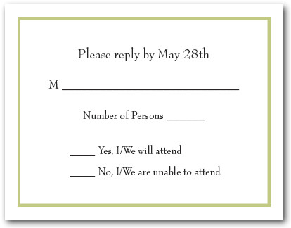 Celery Green Border RSVP Card #8