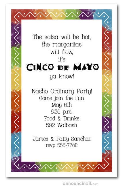 Zigzag Mexican Fiesta Party Invitations – Mexican Themed Party Invitations