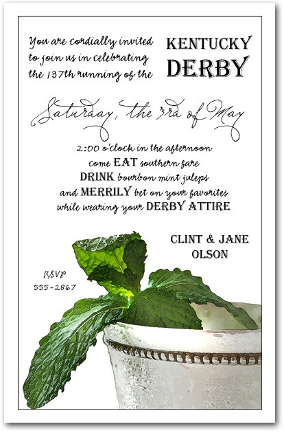 mint julep kentucky derby party invitations