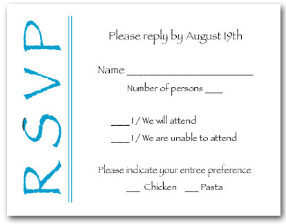 Peacock Blue on White RSVP Cards #6