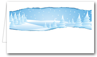 Blue Snowy Landscape Place Cards